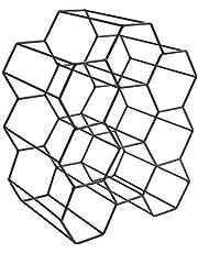 HOME DECO FACTORY - KA3041 - Casier Bouteilles Filaire Noir Nid D'Abeille Metal