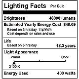 Sunlite 03636-SU LU400/MOG 400 Watt HPS ED18 High Pressure Sodium Light Bulb, Mogul Base, Clear