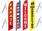 4 Swooper Flags & Pole Kits Karate School Welcome Open House Enroll Red Yellow