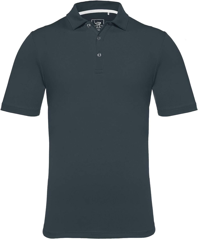 EAGEGOF Regular Fit Men's Performance Polo Shirt Stretch Tech Golf Shirt Short Sleeve