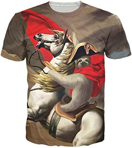 Raisevern Unisex Sloth Ride Horse Printed Hip-hop Style T-Shirts, Sloth, Medium