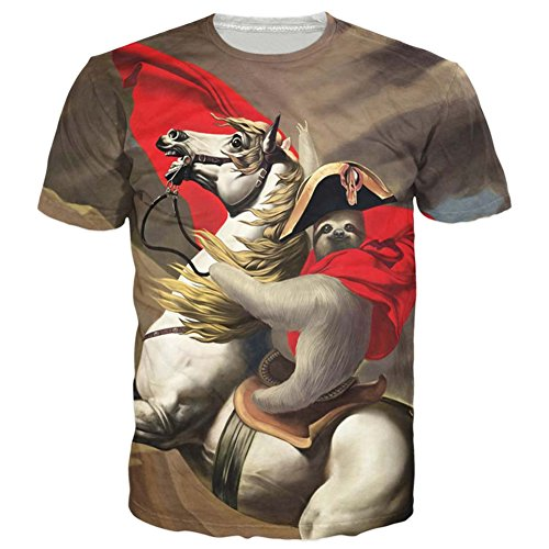 Raisevern Unisex Sloth Ride Horse Printed Hip-hop Style T-Shirts, Sloth, Medium