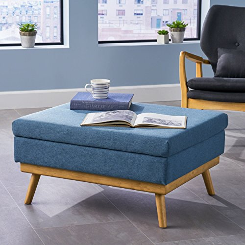 - Great Deal Furniture 304578 Beryl   Mid Century Fabric Ottoman   in Blue, Natural