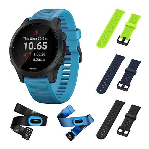 Garmin Forerunner 945 Bundle, Premium GPS Running/Triathlon Smartwatch with Music Included Wearable4U 3 Straps Bundle (Lime/Navy Blue/Black) (Triathlon Watch Garmin)
