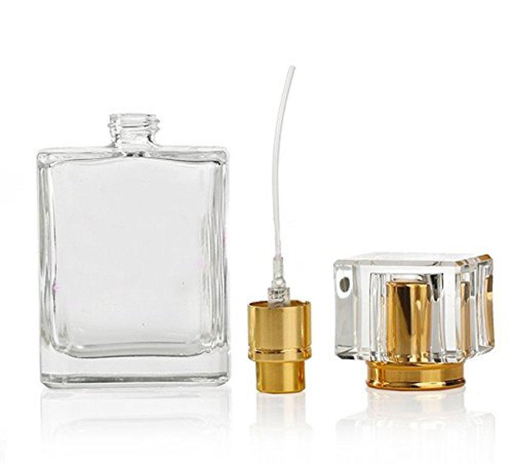 50ml Perfume Spray Bottle Rectangle Atomizer Refillable Clear Glass Luxury Sprayer Bottle Empty Atomizer Travel Gift Head Cap Color Random Ericotry