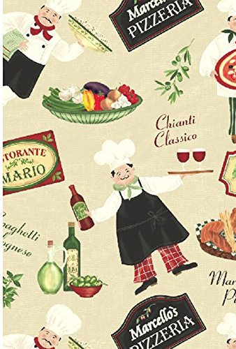 Newbridge Italian Bistro Chef Vinyl Flannel Backed Tablecloth - Novelty Chef Indoor/Outdoor Picnic, BBQ and Dining Tablecloth - 60
