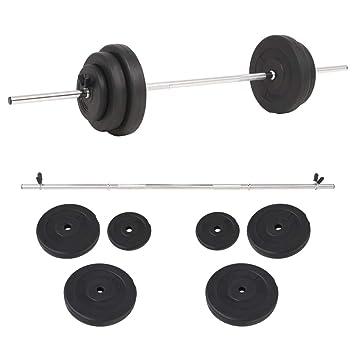 vidaXL Set de Pesas 30kg Fitness Musculación Gimnasio Levantamiento Deportes