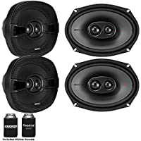 Kicker Speaker Bundle - Two pairs of Kicker 6x9 Inch 3-way KS-Series Speakers 44KSC69304