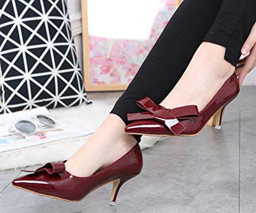 Aisun vineux Nœud Escarpins Heel Elégant Femme Papillon Kitten Rouge qxw1CpBqUn
