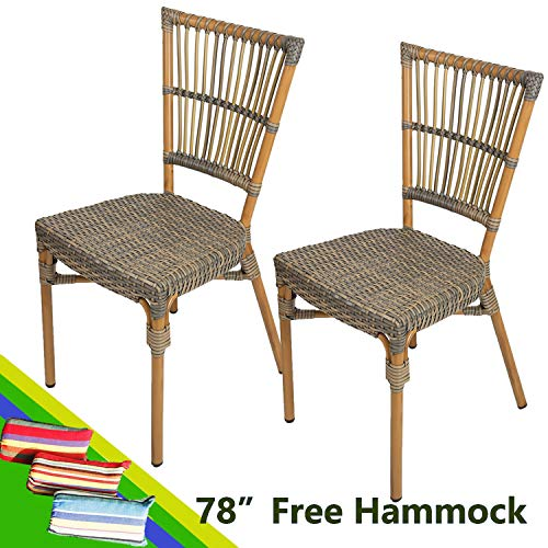 Livebest Set of 2 Wicker Dining Side Chairs Armless Patio French Cafe Bistro Chair with Aluminum Frame Indoor Outdoor,Brown ()