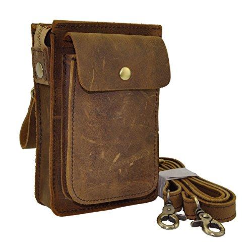 Price comparison product image Le'aokuu Mens Genuine Leather Fanny Messenger Shoulder Satchel Waist Bag Pack (Brown)