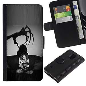 All Phone Most Case / Oferta Especial Cáscara Funda de cuero Monedero Cubierta de proteccion Caso / Wallet Case for Samsung Galaxy S5 V SM-G900 // Scary Black White Halloween