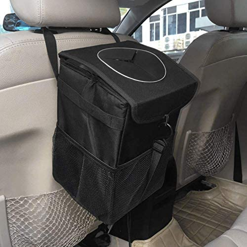 PowerTiger Car Rubbish Bin Hanging Auto Trash Bag Litter Container Water Resistant Leak Proof Collapsible Garbage Organiser 6.5Ltr Capacity Black