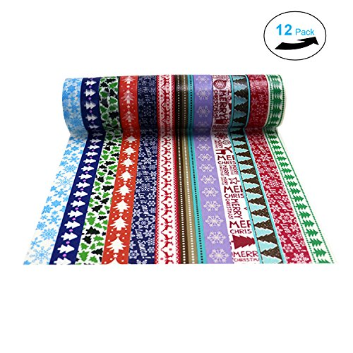 Christmas Washi Tape Set of 12 Rolls, Colorful Tape Decorate for DIY Crafts, Festival Gift Wrapping ,Office Party Supplies, Christmas, Lamp, Cards, (Decorate Office For Christmas)