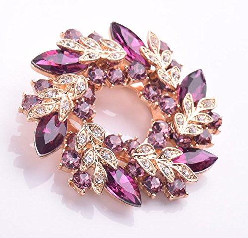 Joyfulshine Womens 18k Gold Plated Crystal Flower Brooch Pin for Ladies Girls Accessories