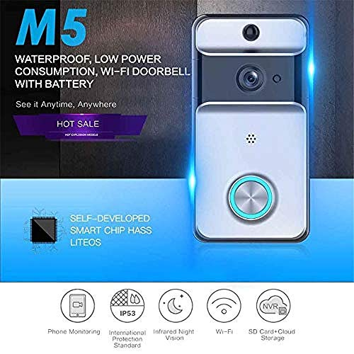 WiFi video doorbell HD remote home monitoring waterproof video intercom doorbell infrared camera wide-angle long standby motion detection