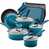 Rachael Ray Hard Enamel Nonstick 12-Piece Cookware Set, Blue