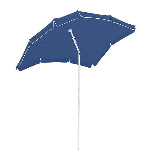 Hengda/® Ombrellone Giardino Parasole Anti Raggi UV 2*1.55m Beige palo laterale Resistente al Vento con manovella e base giardino Spiaggia Gazebo telo idrorepellente