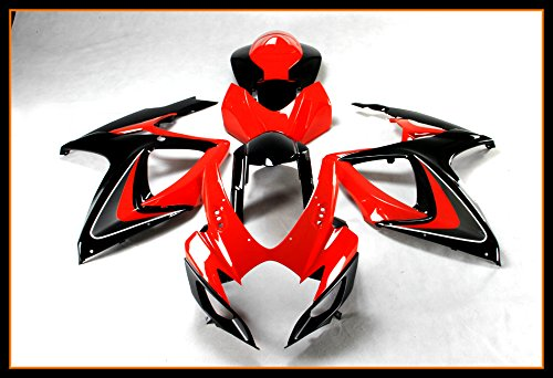 Protek ABS Plastic Injection Mold Full Fairings Set Bodywork With Heat Shield Windscreen for 2006 2007 Suzuki GSXR600 GSXR750 GSXR 600 750 Red Black