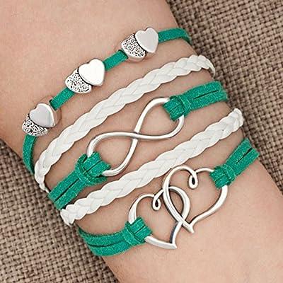 LovelyJewelry Leather Wrap Bracelets Girls Double Hearts Infinity Rope Wristband Bracelets