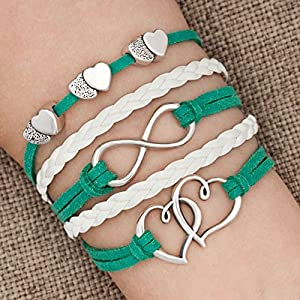 LovelyJewelry Leather Wrap Bracelets Girls Double Hearts Infinity Rope Wristband Bracelets