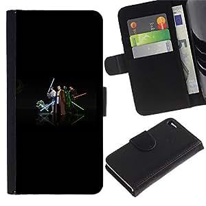 EJOY---Tirón de la caja Cartera de cuero con ranuras para tarjetas / Apple Iphone 4 / 4S / --Equipo Jedi