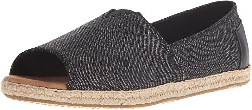 TOMS Women's Alpargata Open Toe Black Metallic Linen Flat 6 B (M)