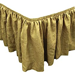 LA Linen Natural Burlap Pleated Table Skirt with 10 Large Clips, 17-Feet by 29-Inch