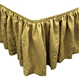 LA Linen Natural Burlap Pleated Table Skirt with 15 Large Clips, 21-Feet by 29-Inch