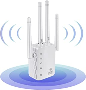 WiFi Range Extender 1200Mbps Booster for The Hourse, 2500FT Repeater 2.4 & 5GHz Dual Band WPS Booster WPS Easy Setup, Work with Any WiFi Routers Perfect Extension of Life