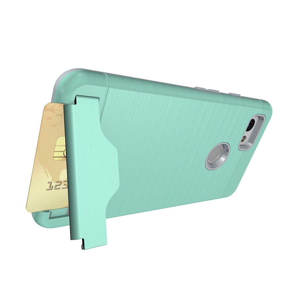 Google Pixel 2 Case, KAMII [Card Slot Holder] Shockproof Slim Fit Dual Layer Hybrid Wallet Case Protective Hard Cover Skin Card Holder with Built-in Kickstand for Google Pixel 2 (2017) (Aqua) by KAMII (Image #3)