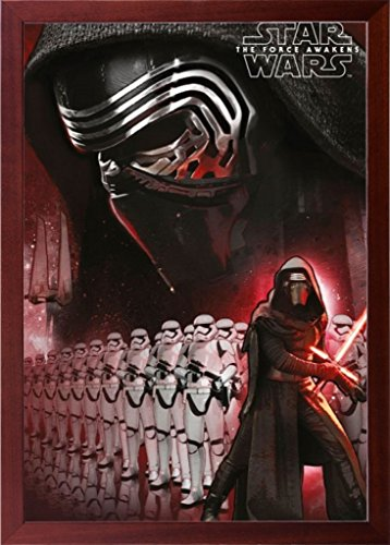 Brown Framed Star Wars The Force Awakens Kylo Ren 24x36 Poster in Basic Detailed Grain Wood Frame