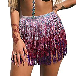Belly Dance Hip Scarf In Silver, Pink & Purple Seuins