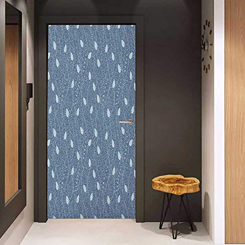 Onefzc Wood Door Sticker Leaves Branches Over Denim Background Contemporary Fashion Nature Mix Art Deco Easy-to-Clean, Durable W30 x H80 Slate and Baby Blue ()