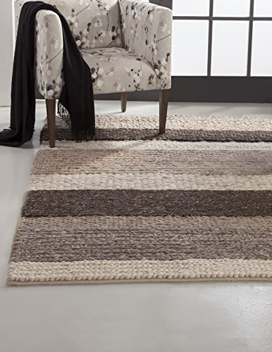 Image of Abacasa Atlas Stripe Area Rug, 8' by 10', Natural/Beige/Brown