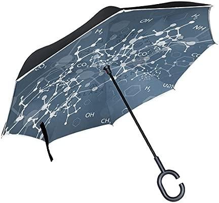 ALAZA química biología fórmula Azul Paraguas invertido Doble Capa Resistente al Viento Reverse Paraguas