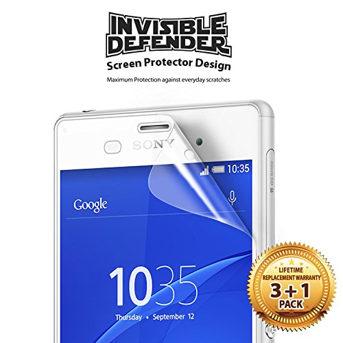 Ringke Screen Protector Compatible with Sony Xperia Z3 Invisible Defender [MAX HD CLEARNESS] Perfect Touch Precision High Definition (HD) Clear Film (4-Pack) (Not for Z3+ / Z3 Compact / Z3 Dual) by Ringke (Image #1)
