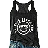 LANMERTREE Women's Graphic Tees Sleeveless Funny Workout Letters Print Tank Top T-Shirt