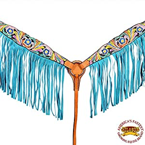 HILASON Western Leather Horse Breast Collar Hand Paint Fringes