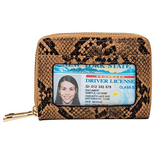 Heaye Card Case Wallet RFID with ID Window Zipper Snake Print Small (Snake Card Case)