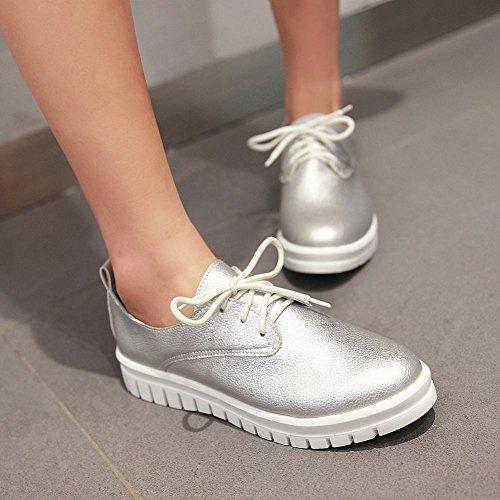 Shoes Latasa Latasa Womens Lace Womens up Flat Silver Oxford B0fqBrw