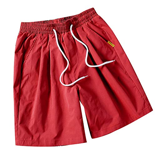 (ANJUNIE Men's Lounge Fleece Shorts with Pockets Jogger Athletic Gym Sweat Pure Color Loose Belt Drawstring Beach Sports Pants(Wine,L))
