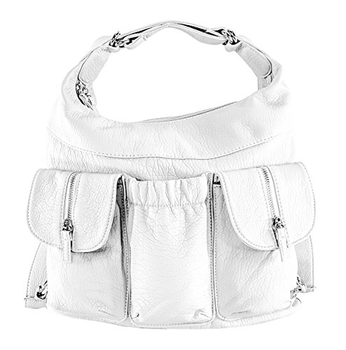 (Purse King Butterfly Convertible Purse (Backpack and Shoulder Bag) in Soft Vegan Leather (White))