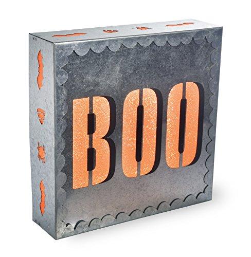 Boston International Vintage Halloween Metal LED Box Sign, Trick or Treat]()
