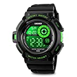 Mens Digital Sport Watch, Electronic Waterproof Cool Military Army Design 50M Water Resistant Stopwatch 7 Color Back lights Alarm Calendar Month Date Weekday-Green
