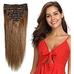 """Clip in Remy Human Hair Extensions Light Brown 10""""-24"""" Grade 7A Quality Full Head 8pcs 18clips Short Soft Silky Straight for Women Fashion 10"""" / 10 inch 70g, 6"""
