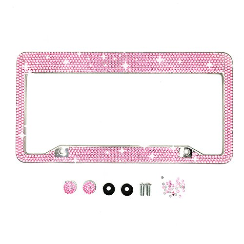 indeedbuy-14rows-pink-embedded-rhinestones-chrome-license-plate-frame-decoration-for-women-with-2-ho