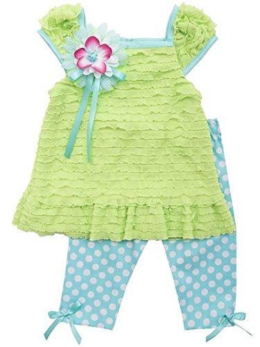 Rare Editions Little Girls Lime Eyelash top Polka Dot Capri Set (2T)