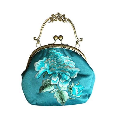 Bolsa Clutch Mujer Monederos Regalos Originales Nuevo Estilo Retro A Mano #103 Azul Verde