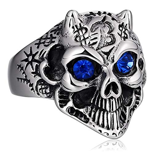 ANAZOZ Mens Rings Stainless Steel Signet Ring Punk Chic Animal Head Crystal Blue Ring Size 9